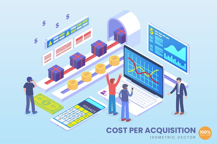 Thumbnail for Isometric Cost Per Acquisition Vector Concept