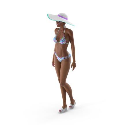 Leichte Haut Bikini Mädchen Stehende Pose