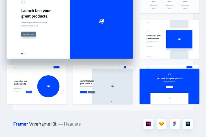 Thumbnail for Framer Wireframe Web UI Kit Template - Header