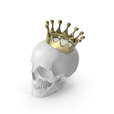 Weißer Schädel mit Goldkrone