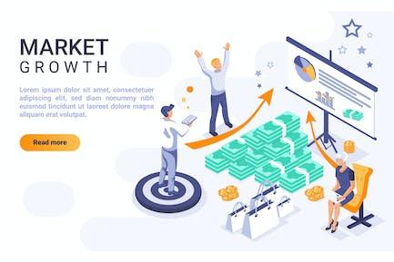 Croissance du marché Header isométrique Concept plat