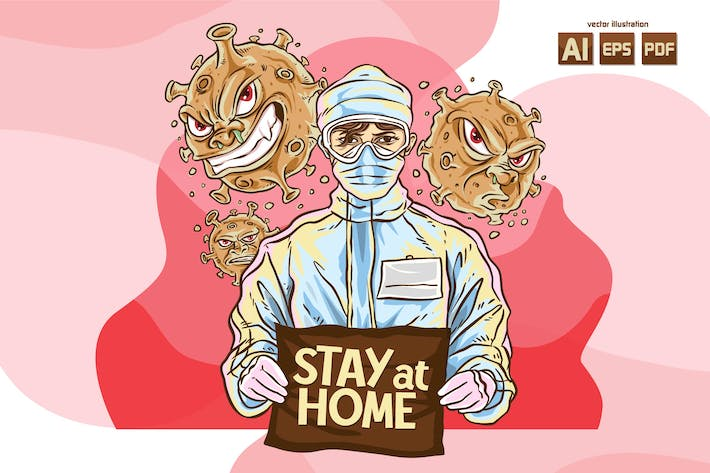 Cover Image For STAY AT HOME - Vector Illustration
