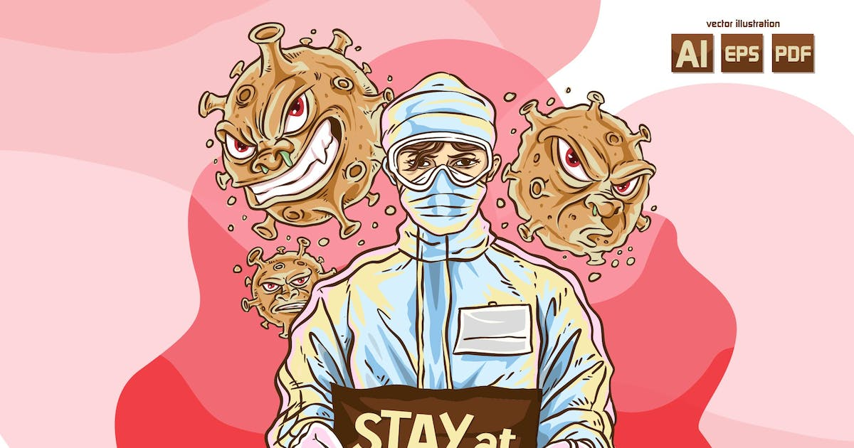 Download STAY AT HOME - Vector Illustration by Olexstudio