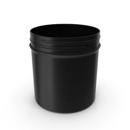 Black Plastic Jar Wide Mouth Straight Sided 6oz Without Cap