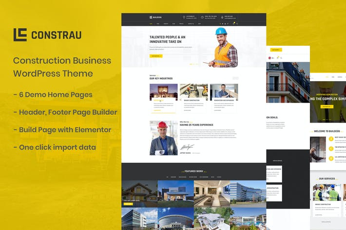 Thumbnail for Constrau - Construction Business WordPress Thema