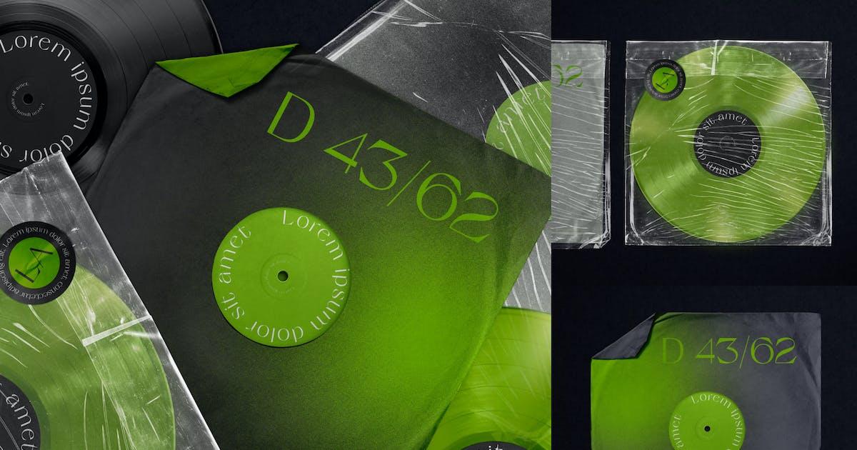 Download Vinyl Record & Cover Plastic Mockup by helloDigi