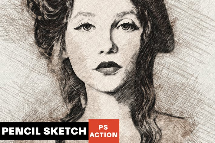 Действие Photoshop Sketch карандаша