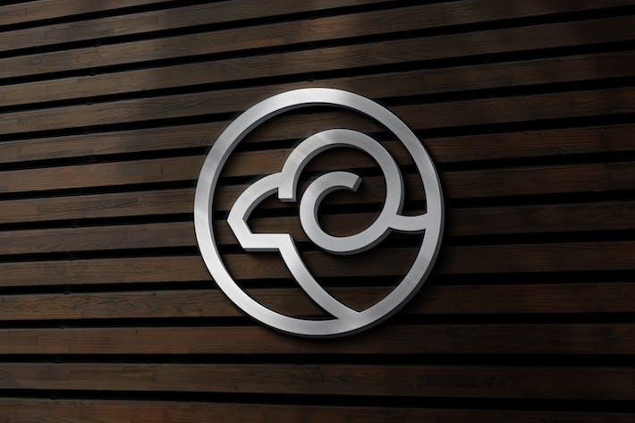 Серебряный знак стены: Логотип Mockup