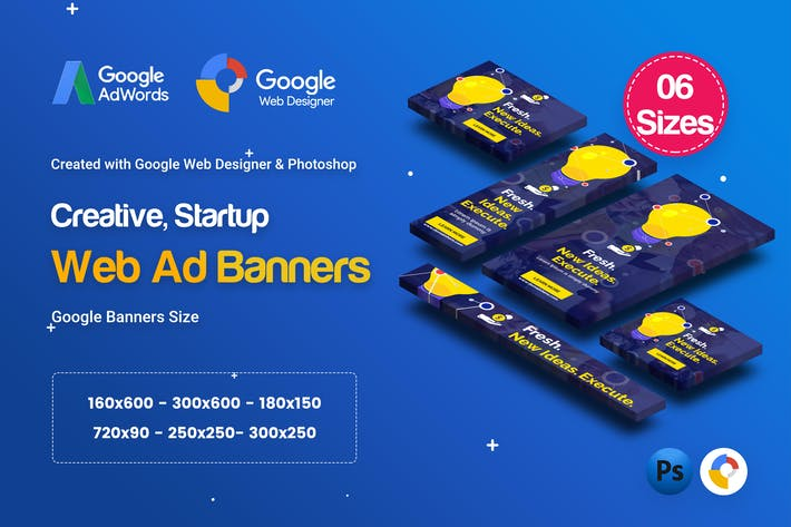 Thumbnail for C61 - Creative, Startup HTML5 Ad - GWD & PSD