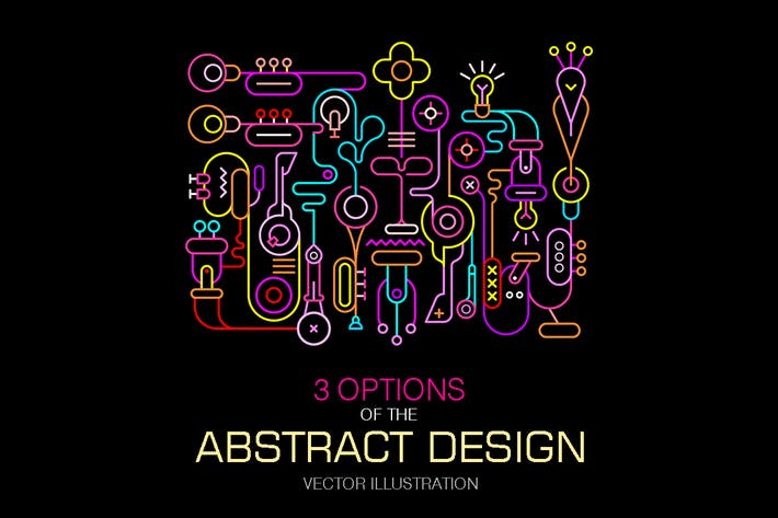 Thumbnail for Abstract Art Neon Colors Vector Design (3 Options)