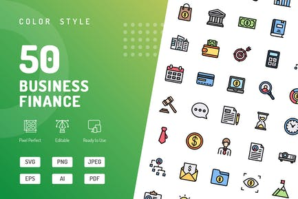 Business Finance Color Icons