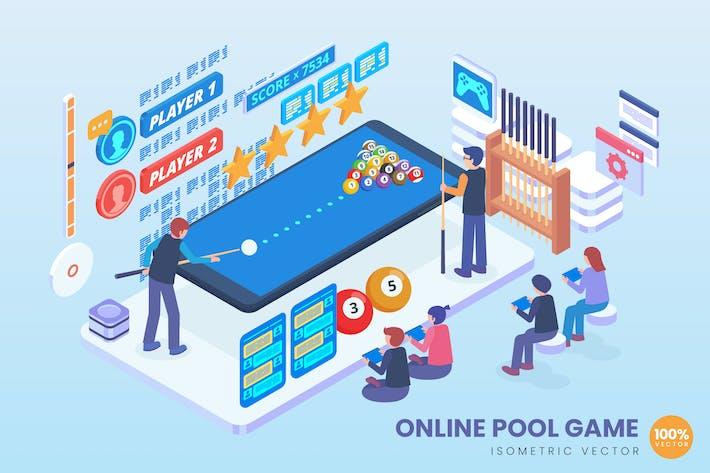 Thumbnail for Isometric Online Pool Spiel Vektor konzept