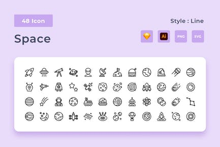 Galaxy Outline Style Icon Pack