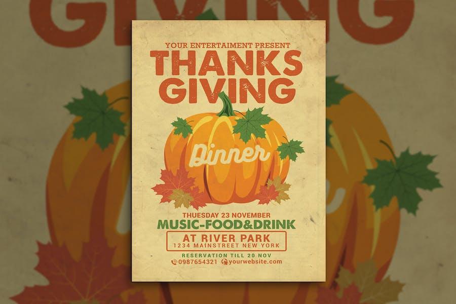 dépliant pour le dîner de Thanksgiving