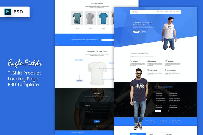 Thumbnail for T-Shirt Product - Landing Page PSD Template
