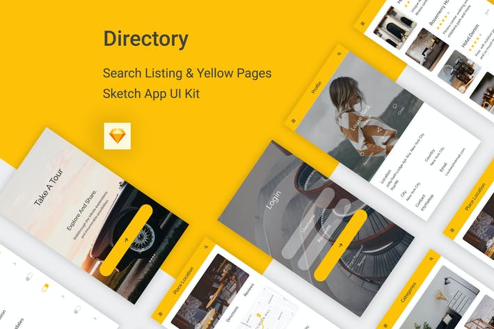 Cover Image For Directory - Listing Mobile App For Sketch
