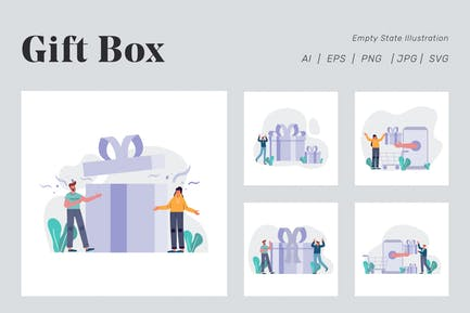 Gift Box Illustration for Empty state