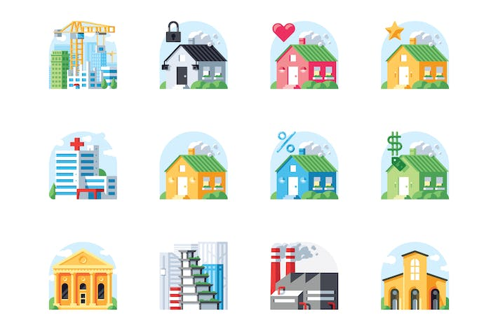 Thumbnail for City buildings icon set