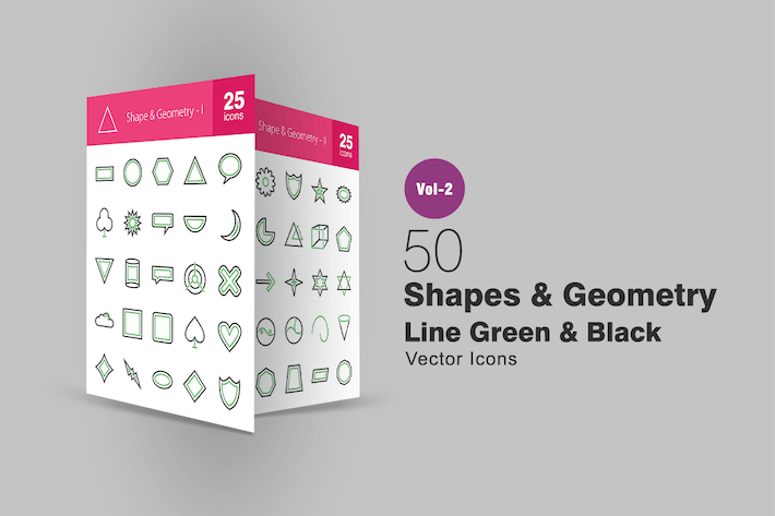 Thumbnail for 50 Shapes & Geometry Line Green & Black Icons