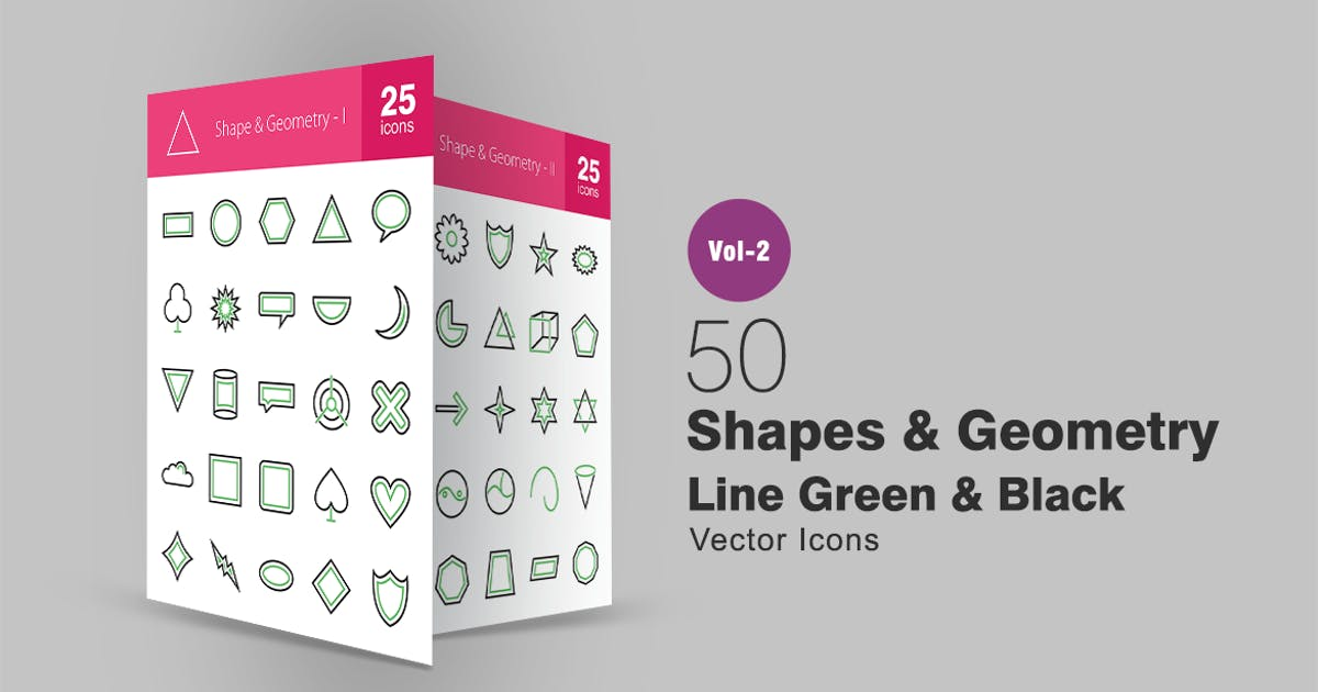 Download 50 Shapes & Geometry Line Green & Black Icons by IconBunny