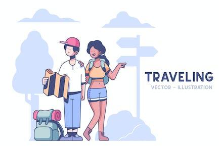 Couple Traveling illustration