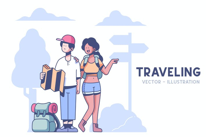 Thumbnail for Couple Traveling illustration