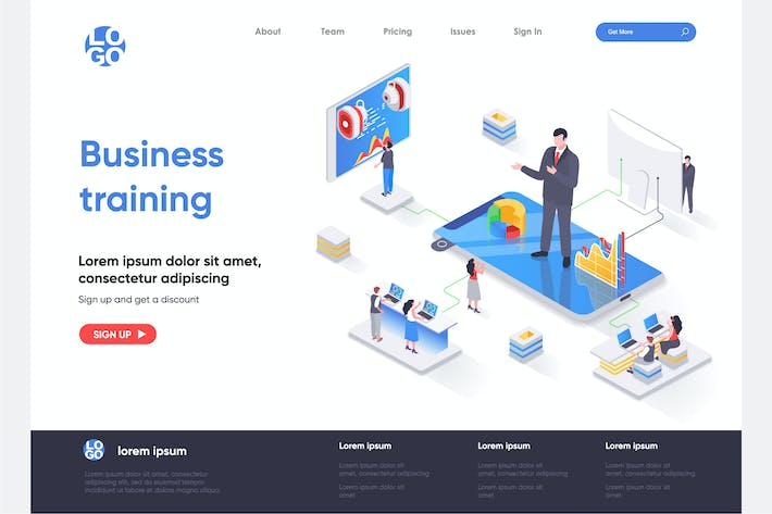 Thumbnail for Business Training Isometric Landing Page Template