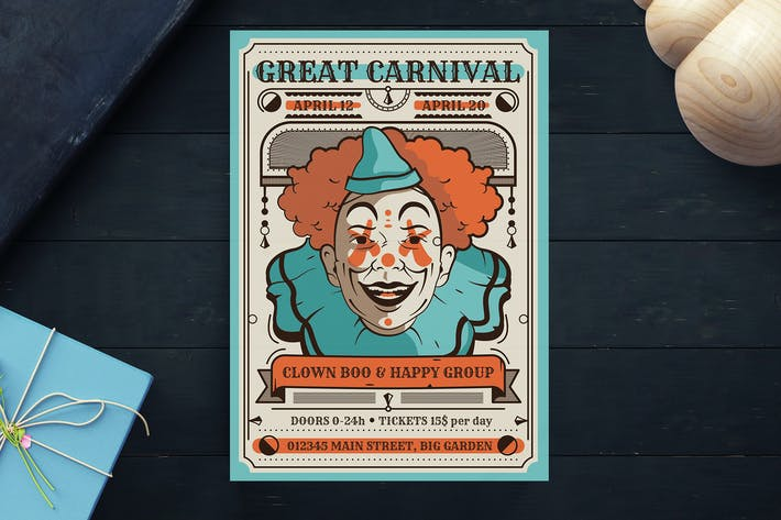 Thumbnail for Vintage Carnival Flyer Template
