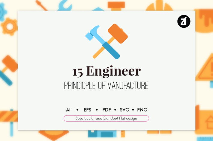 Thumbnail for 15 Engineer elements in flat design