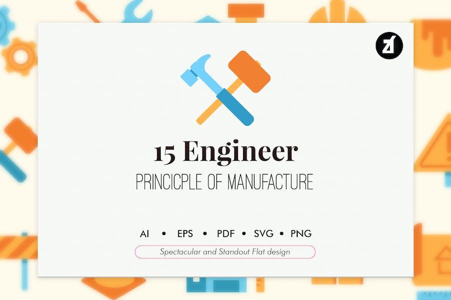 15 Engineer elements in flat design