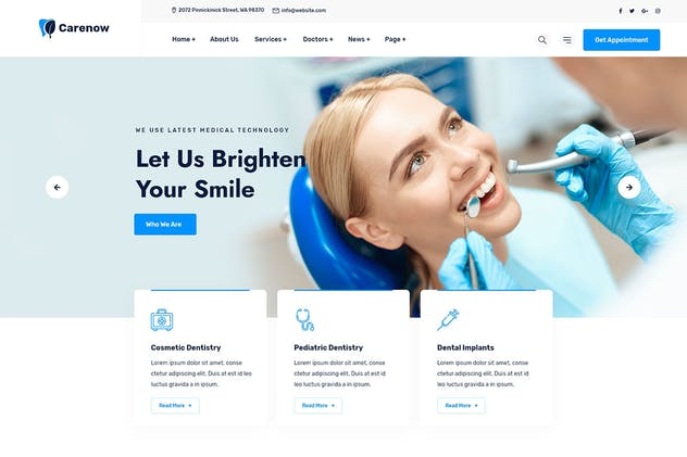 Carenow – Medical & Dentist HTML Tempate