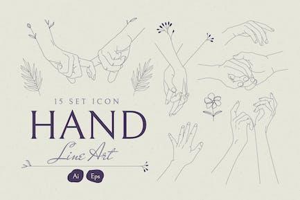 Hand Line Art Set Icon