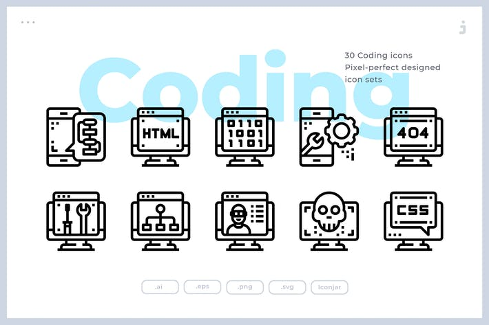 Thumbnail for 30 Coding Icons