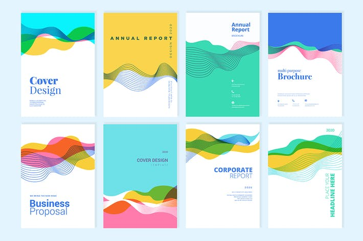 Thumbnail for Set of brochure, annual report design templates