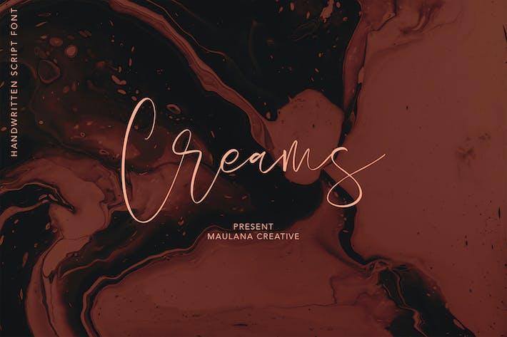 Thumbnail for Creams Handwritten Script Handmade Beauty Font