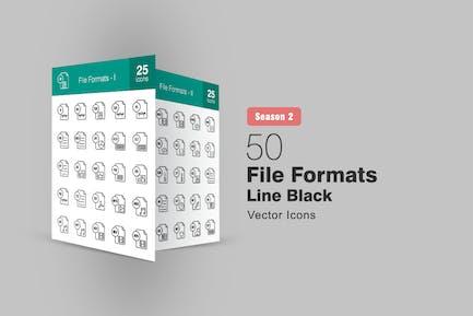 50 File Formats Line Icons Season II