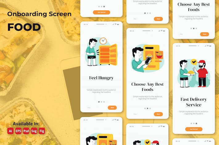 Thumbnail for Food order and restaurant apps onboarding screens