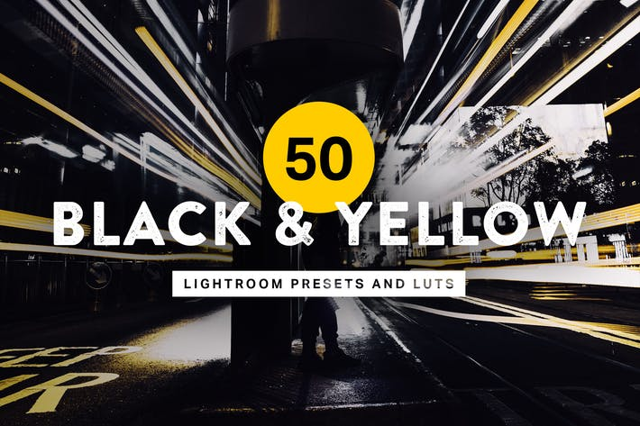 Thumbnail for 50 presets y LUTs de Lightroom en negro y amarillo
