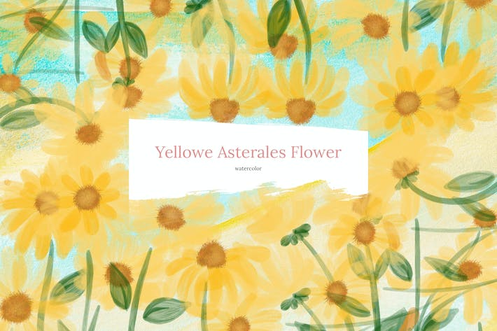 Thumbnail for 10 Watercolor Blue Yellowe Asterales Flower