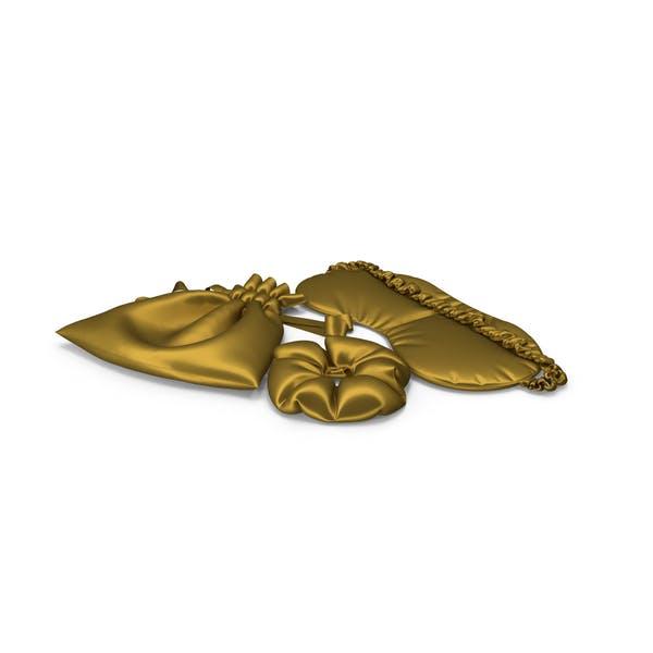 Set of Gold Silk Sleep Mask, a Scrunchie and Bag