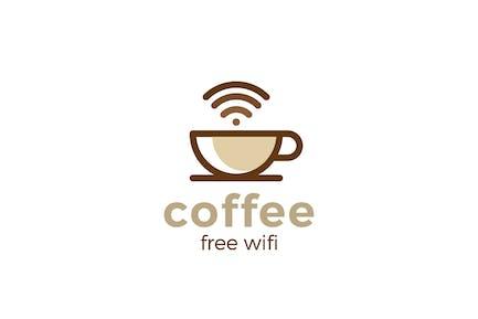 Logo Coffee Cup WiFi Linear style