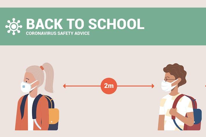 Back to school. Social distancing at school