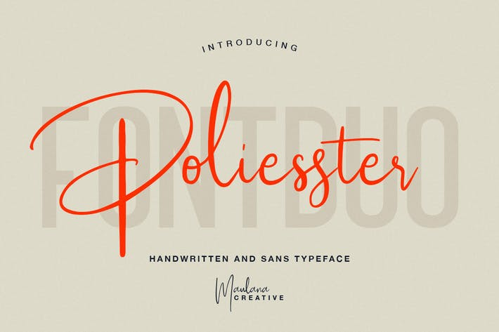 Cover Image For Poliesster - Font Duo Script Sans
