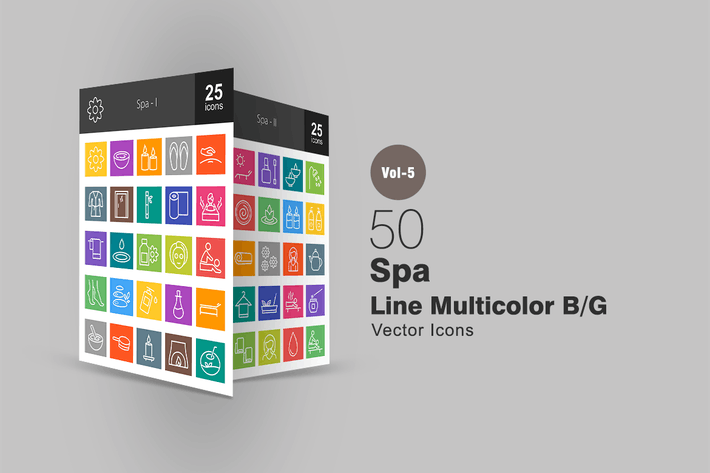 Thumbnail for 50 Spa Line Multicolor Icons