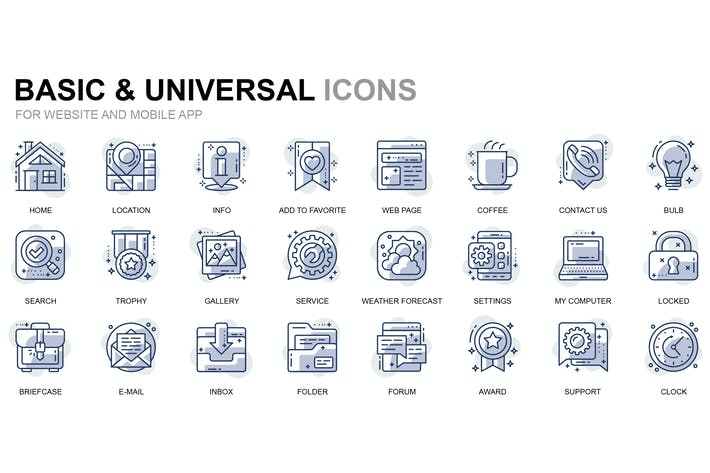 Thumbnail for Basic Thin Line Icons