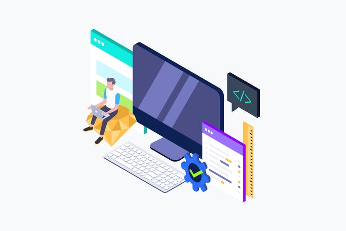 Thumbnail for Web Design Isometric Illustration
