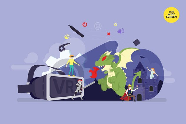 Virtual Reality Smart Gaming Vector Concept