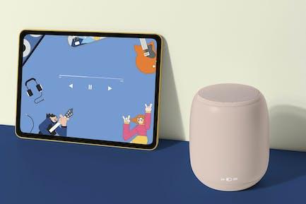 Tablet screen mockup psd with smart speaker