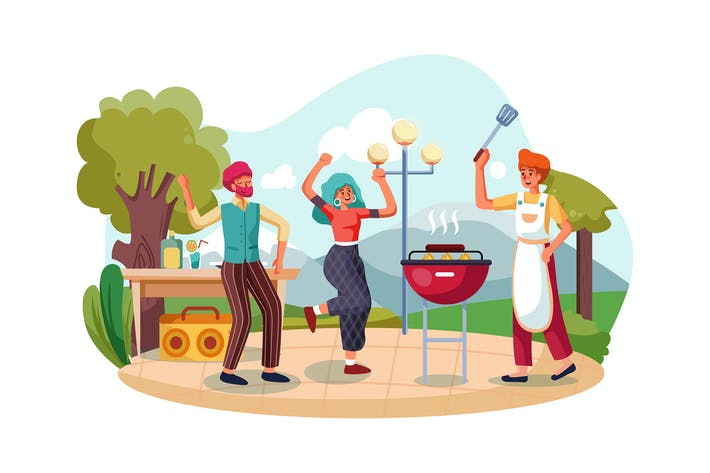 Thumbnail for Group of friends dancing at outdoors barbecue