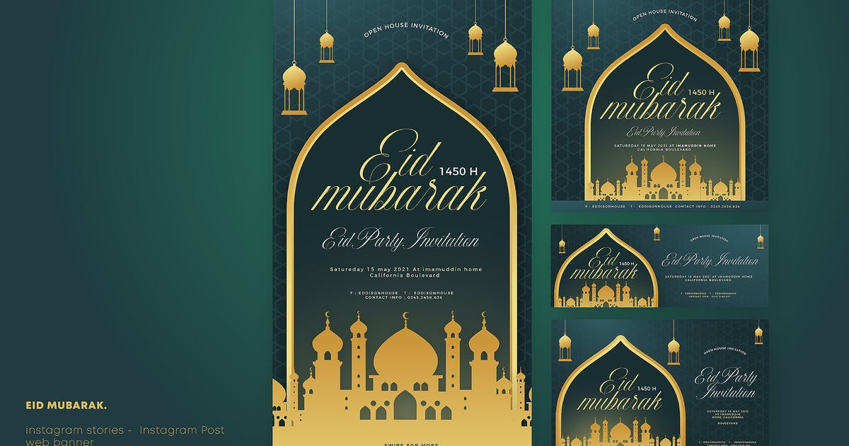 Download Cd Eid Mubarak Social Media Banner by celciusdesigns
